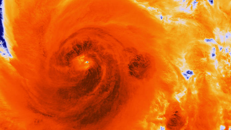 <p>An infrared photo from the National Oceanic and Atmospheric illustrates the temperatures inside the storm cell--important, since the upward movement of warm, moist air is what gives the storm its momentum.</p>