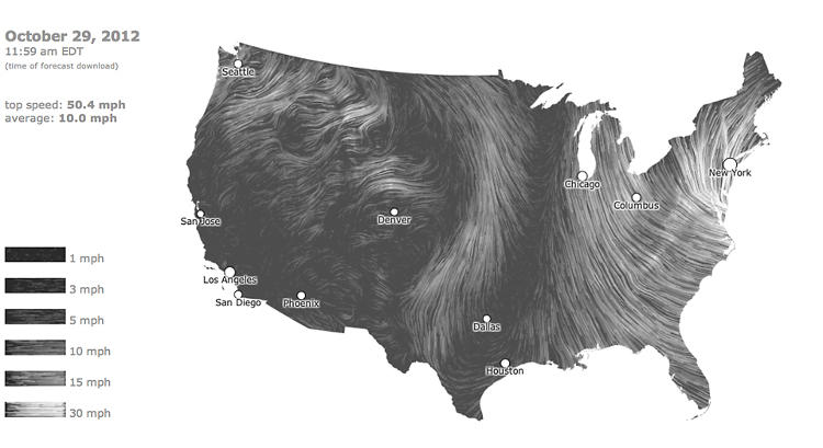<p>The beautiful animated Wind Map hints at Sandy's approach from the east.</p>