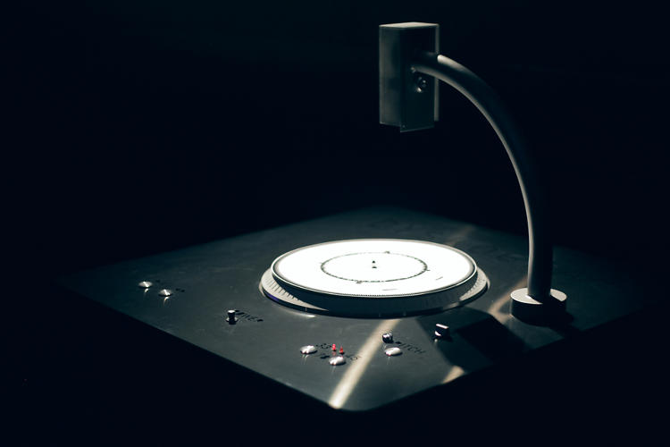<p>The Dyskograf, a physical disc player, uses a high-speed camera to make sounds out of markings on paper records.</p>