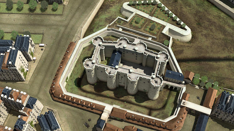 <p>Eight towers framed the Bastille, a 14th-century fortress located in a strategic gateway on the eastern bank of Paris. Although the original building was destroyed, Dassault Systèmes' 3-D experts relied on topographical Paris maps and other historical photographs to reconstruct  this fortress, also used as a royal castle and prison throughout Paris's early history.</p>
