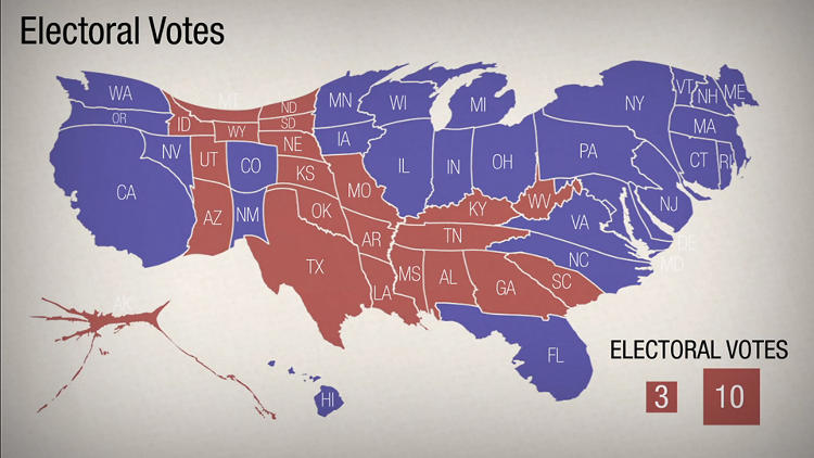 <p>A set of maps from NPR's Adam Cole tell the story of the 2012 election using a software that distorts the states based on election spending.</p>