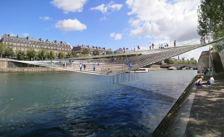 <p>Architecture firm bureau faceB has won a competition to build a new bridge over Paris's Seine River.</p>
