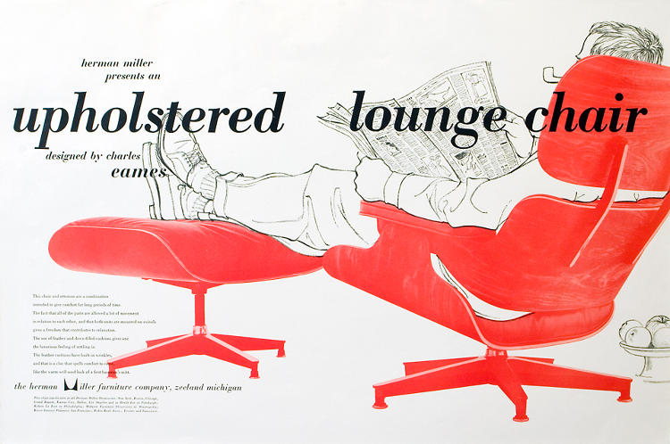 <p>&quot;This ad for the Eames Chair and Ottoman demands that the viewer register the object first. In this hierarchical design, the chair is accentuated. The man, a simple line drawing, is of secondary importance, although the underlying message is of comfort and contentment.&quot;</p>
