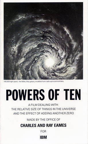 <p>&quot;This collaborative book was based on the classic short film, <em>Powers of Ten</em>, 1977, by Charles and Ray Eames. The film is a nine-minute visual journey that explores the relative size of things in the universe, from the microscopic to the cosmic.&quot;</p>