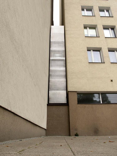 <p>The Keret House is a building squeezed in the crack of two buildings. It's all of 4 feet wide.</p>