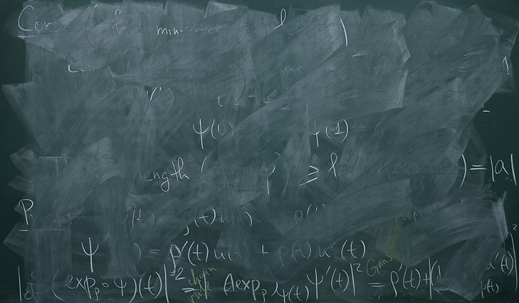 <p>The notes range from perfectly intact to completely illegible--here, a board at Cambridge is partially erased.</p>