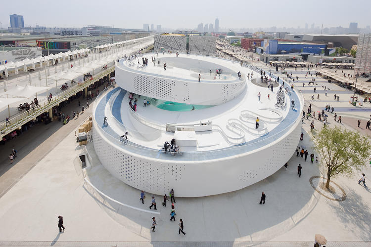 <p>Bjarke Ingels's firm, BIG, designed this high-profile pavilion for the World Expo in Shanghai in 2010. Its bike-able ramps revolved around a pool at the structure's center that showcased Copenhagen's famous &quot;Little Mermaid&quot; statue, along with water from the city's harbor.</p>