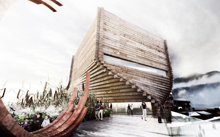 <p>BIG designed an art center for this former mining town that looks like a highly evolved log cabin. Its dual orientation reflects its location at the intersection of the city's two main streets, one of which runs diagonally through town.</p>