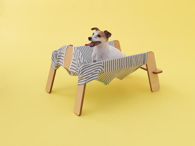 <p>Torafu Architects' Jack Russell hammock involves a stretcher that turns your old clothing into a hammock, thus indulging your pooch in your own scents. You can also substitute warmer clothing in the winter.</p>