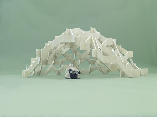 <p>Kengo Kuma's piece for Pugs creates a nest for the dog. It needs no nails or bonding agents, and the structure protects the dog while offering a place to hang food and toys.</p>