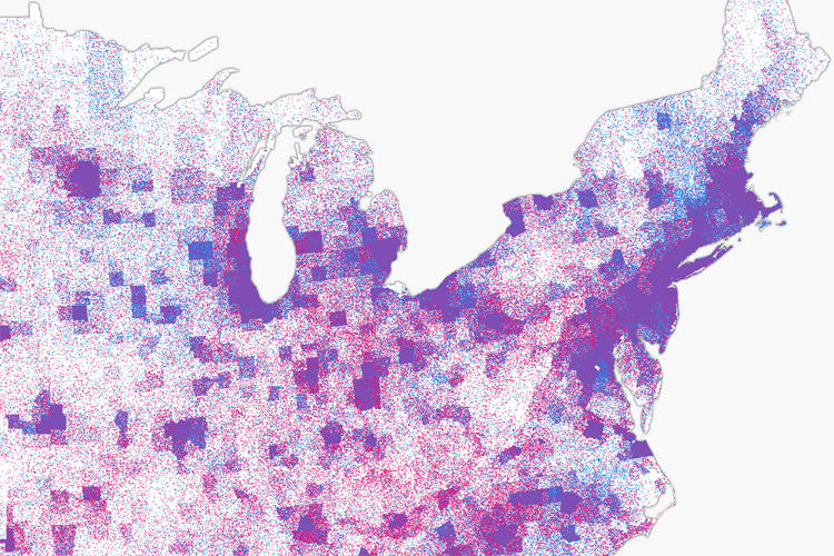 <p>This effect allows us to look within counties themselves to better understand the red vs blue dynamics at the regional level.</p>
