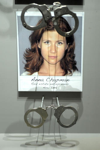 <p>A pair of FBI handcuffs used to arrest Russian spy Anna Chapman.</p>