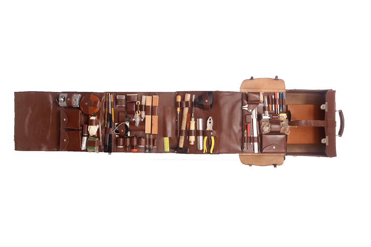 <p>The Stasi Kit, a kit of tools used by East German members of the Stasi secret police, concealed in a leather case, for spying and surveillance purposes.</p>