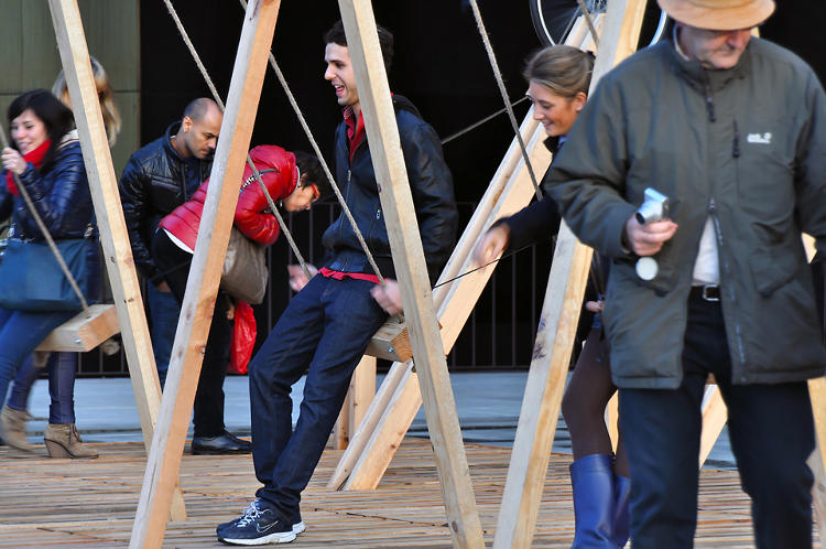 <p>The swing was one of 15 pop-up installations selected to give &quot;new life and purpose to vacant or neglected urban and commercial spaces and places around the city by means of temporary interventions.&quot;</p>
