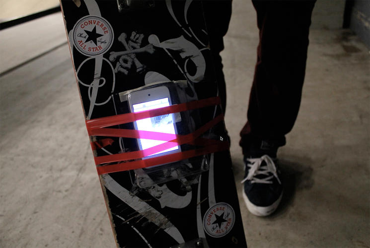 <p>The tracking comes courtesy of an iPod Touch, strapped to the bottom of the deck.</p>