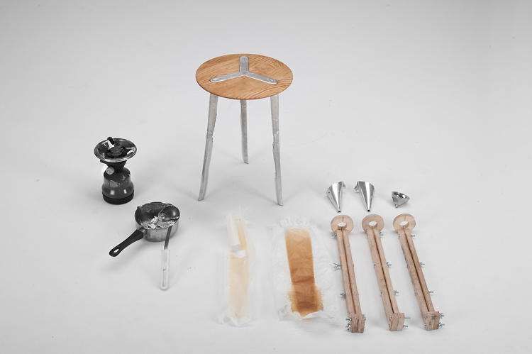 <p>The tools of the trade for Raphael Volkmer's unique Pewter Transmutation, a performance piece that delves into the upcycled history behind a single stool.</p>