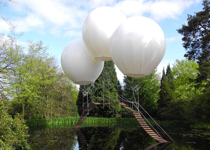 <p>In the estate's Japanese Garden--part of the 2,000-acre deer park--Grossetete has used three massive helium balloons to support the weight of a wooden footbridge.</p>