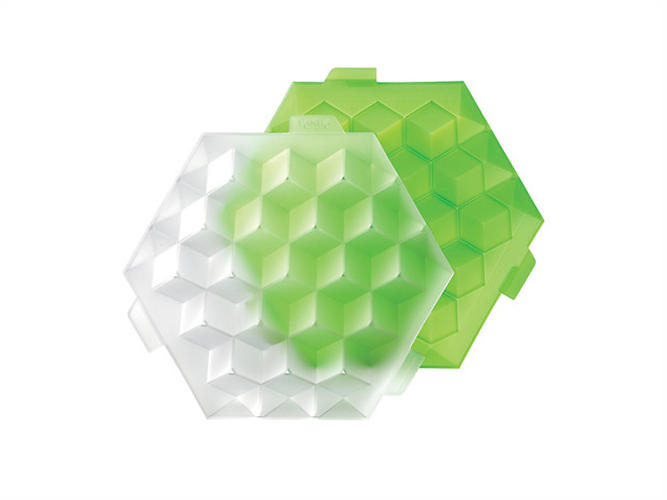 <p>If you've been serving ice from regular old freezer trays and calling it &quot;cubes,&quot; you're guilty of a white lie. Those are hexahedrons. To right your geometric wrong, buy this silicone tray, which molds water into 19 perfect cubes. <a href=&quot;http://www.lekueusa.com/Ice-Cube-Cubic-Ice-Tray-Green-plu0250500V05C003.html&quot; target=&quot;_blank&quot;>Available for $20</a>.</p>