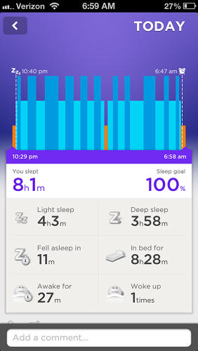 <p>For that information, you'll need to use the iPhone app. Here's a shot of my sleep patterns from an evening. (The short bars are times I woke. The longer are deep sleep.)</p>