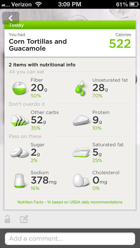 <p>Again, this food section goes pretty deep, allowing you to customize portions (and nutrition info) with precision. It's too deep to be casual, frankly, meaning I see UP more as a weight-loss device than an active lifestyle device, if that makes sense.</p>