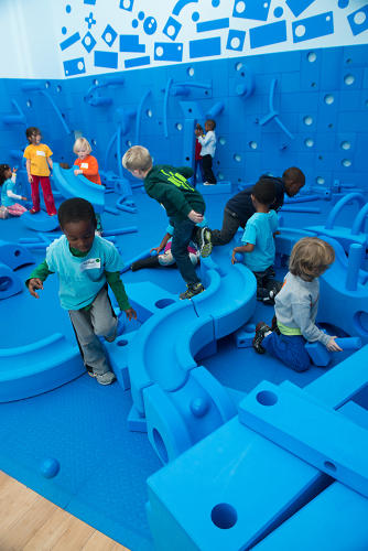 <p>The blue foam components encourage kids to build their own fun--the kit has been installed in 600 locations worldwide.</p>