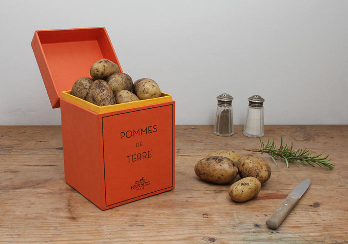 <p>Pomme de Terre--a riff on Hermes' classic scents--suggests extending a luxury brand to the table. &quot;Fashion goes food,&quot; writes Gravity. &quot;Hand-picked, selected from one of a hundred, we bring the best ingredients to your table.&quot;</p>