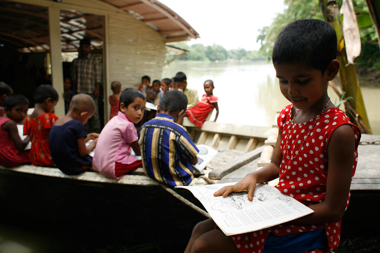 <p>Shidhulai Swanirvar Sangstha runs a fleet of 88 boats that offer education, health care, and connectivity to flood-stranded Bangladeshi families.</p>