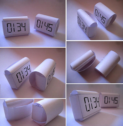 <p>Paper models were made to figure out the form of the clock itself.</p>