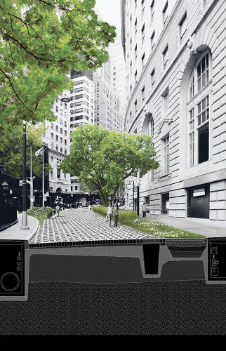 <p>The plan includes a porous street system built to absorb rainfall and channel it back into the harbor.</p>