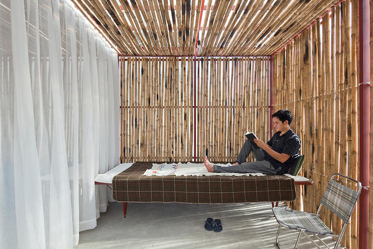 <p>The 70-square-foot interior spaces can be divvied up using curtains.</p>