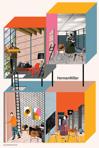 <p>An amazing Eames-style collage hommage to the Molded Plywood Chair by Eda Akaltun.</p>