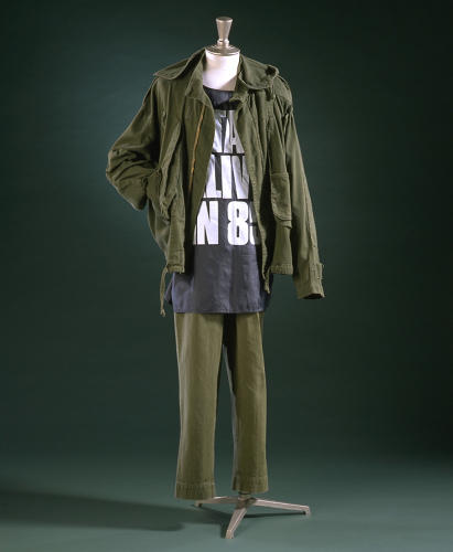<p>A khaki suit designed by Katharine Hamnett, who became famous in the 1980s for her political slogan shirts.</p>
