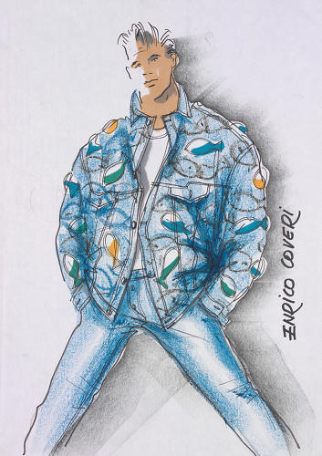 <p>A sketch by Enrico Coveri. Though the jean jackets seemed like a fun, simple exercise at the time, the designs came to represent the culture of the 1980s club scene.</p>