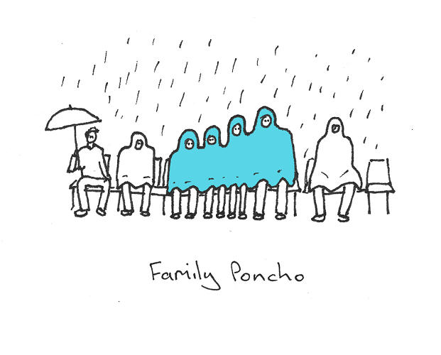 <p>A family-sized poncho--workable, assuming everyone likes each other.</p>