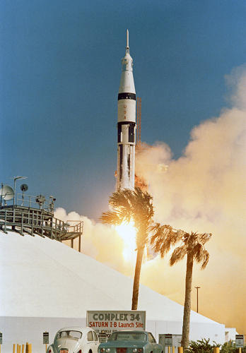 <p><strong>Launch</strong><br /> The Apollo 7/Saturn IB space vehicle is launched from the Kennedy Space Center, Launch Complex 34 at 11:03 a.m. October 11, 1968. It is the first manned Apollo launch.</p>
