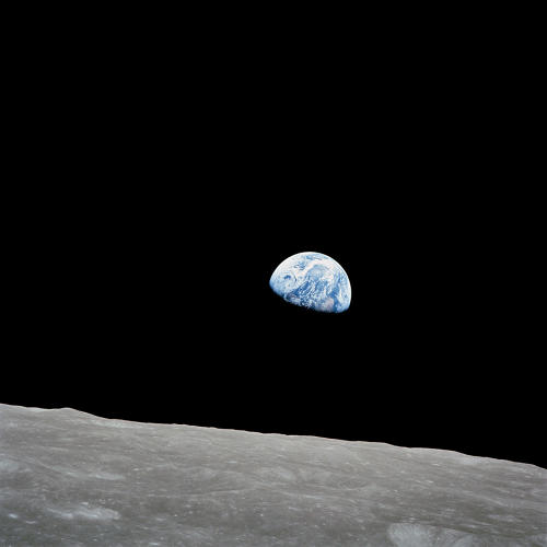 <p><strong>Earth Rise</strong><br /> The crew of Apollo 8 captured this view of Earth about five degrees above the lunar horizon on Dec. 22, 1968, showing Earth for the first time as it appears from deep space.</p>