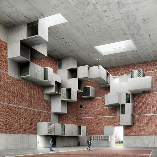 "<p>Dujardin calls his works--like this one, which recalls Louis Kahn--""fictions.""</p>"