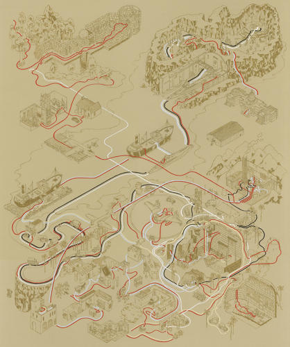 <p>But DeGraff didn't just tackle<em> Star Wars</em> for his current exhibition at Gallery1988 in Los Angeles--he mapped the <em>Indiana Jones</em> movies, too. This is <em>Raiders of the Lost Ark</em>.</p>
