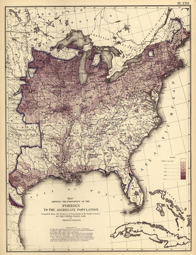 <p>This map of immigrants is nearly the mirror image of the one before, illustrating just how few immigrants had settled in the former slave states. For Walker, maps such as this held tremendous promise for fields of geography, social science, economics, and political economy.</p>