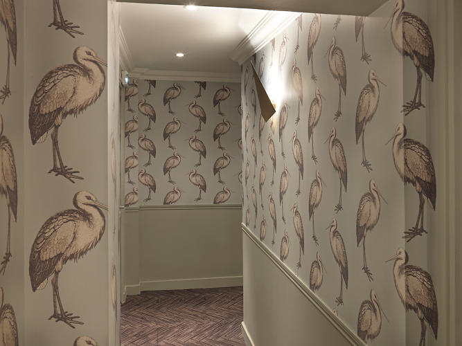 "<p>""I used these prints as a tribute to the 'oiseau de paradis,'&quot; she says of the many bird-like wallpaper patterns.</p>"