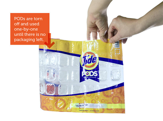 <p>His <a href=&quot;http://disappearingpackage.com/&quot; target=&quot;_blank&quot;>Disappearing Package</a> project envisioned no-package solutions for five products. Here, Tide Pods are arranged as a single, perforated sheet and rolled up into a shelf-ready product.</p>
