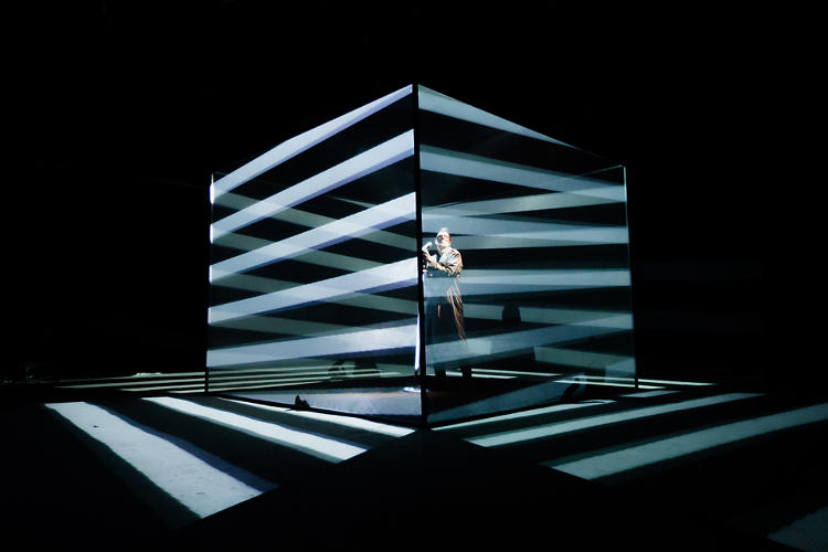 <p>Using a motion-sensitive mic, Lidell can change the direction of his visuals, shifting the momentum of the stage.</p>