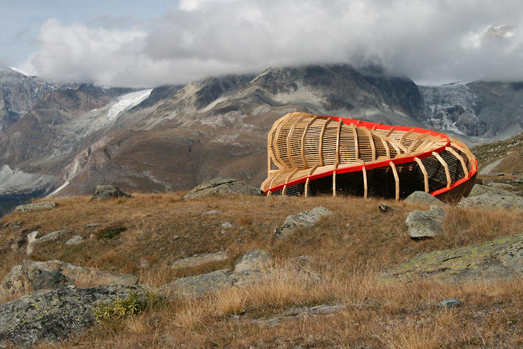 <p>Built for a chamber music festival, this panoramic structure by Alice Studio/Atelier De la Conception De l'Espace Valais, sits in the Swiss Alps.</p>