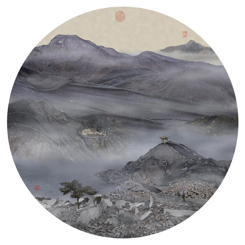 "<p>Their foggy hill tops are framed in traditional shapes and marked with the distinctive ""chop marks"" that note the subject and artist. <em>Autumn Mist in the Mountain with Winding Streams</em>, 2007.</p>"