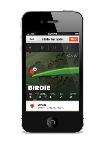 <p>The mobile app tracks your progress as you play, showing map overlays of each swing and other info in a non-disruptive way.</p>