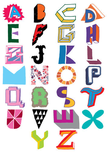 <p>Emily Gregory's <em>Little Book of Lettering</em> compiles some of the most interesting typographers working today, including Bath, U.K.-based Andrew Joyce, who hand-drew these letters as part of a larger exploration of the letters of the alphabet. Most of the color combinations, the designer says, were inspired by NBA team logos.</p>