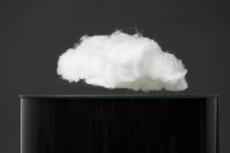 <p>Laurent Debraux creates captivating kinetic sculptures. Here we see one of his first creations, a magnet wrapped in cotton. (Or a cloud.)</p>