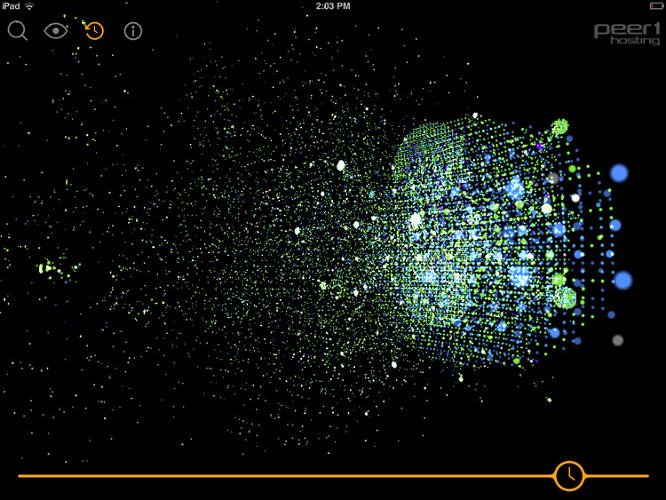 <p>The map <a href=&quot;http://www.peer1.com/blog/peer-1-hosting-launches-map-of-the-internet-app&quot; target=&quot;_blank&quot;>takes the form of an app for Android and iOS</a>, showing 22,961 of the Internet's biggest nodes--not individual websites, but the ISPs, universities, and other places that host them.</p>