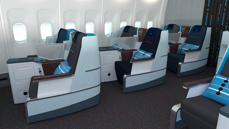 <p>A new business class KLM cabin, designed by Hella Jongerius.</p>