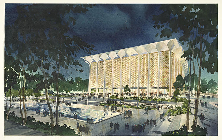 <p>Music Center Dorothy Chandler Pavilion: exterior, ca. 1960</p>